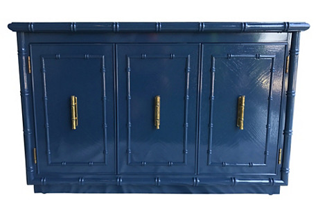 Navy Lacquered Faux-Bamboo Server