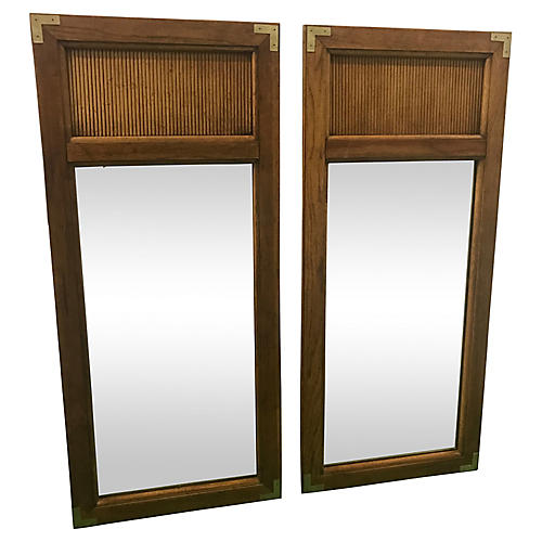 Campaign-Style Mirrors, a Pair