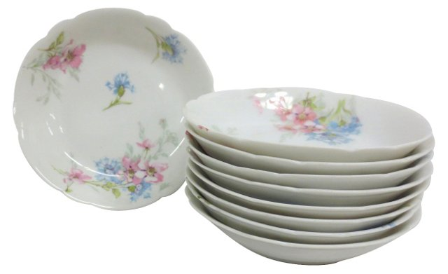 Haviland Limoges Berry Bowls, S/9