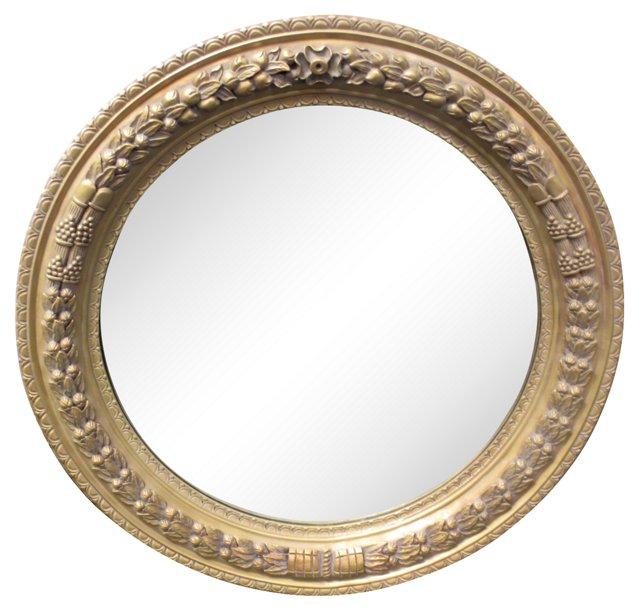 Oversize Round Gilt Mirror