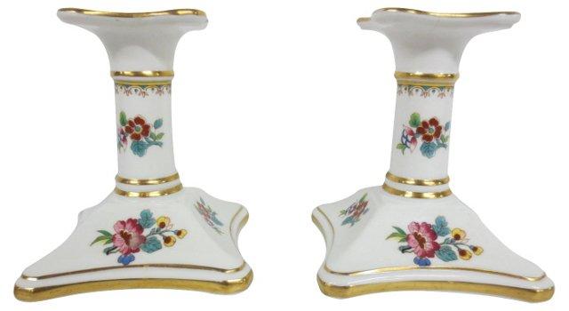 Ming Rose Candleholders, Pair