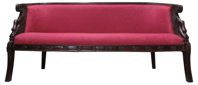 Egyptian Revival Sofa w/ Swan Armrests