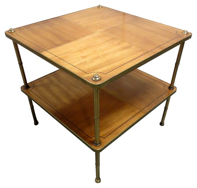 Two-Tier Side Table with Brass Legs