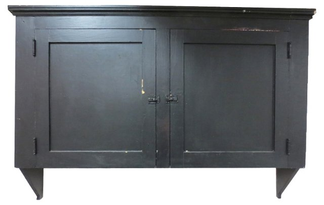 Black Painted Hanging Wall Cabinet
