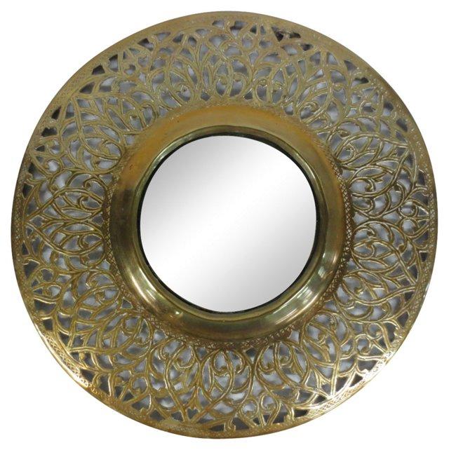Round Pierced Brass Mirror