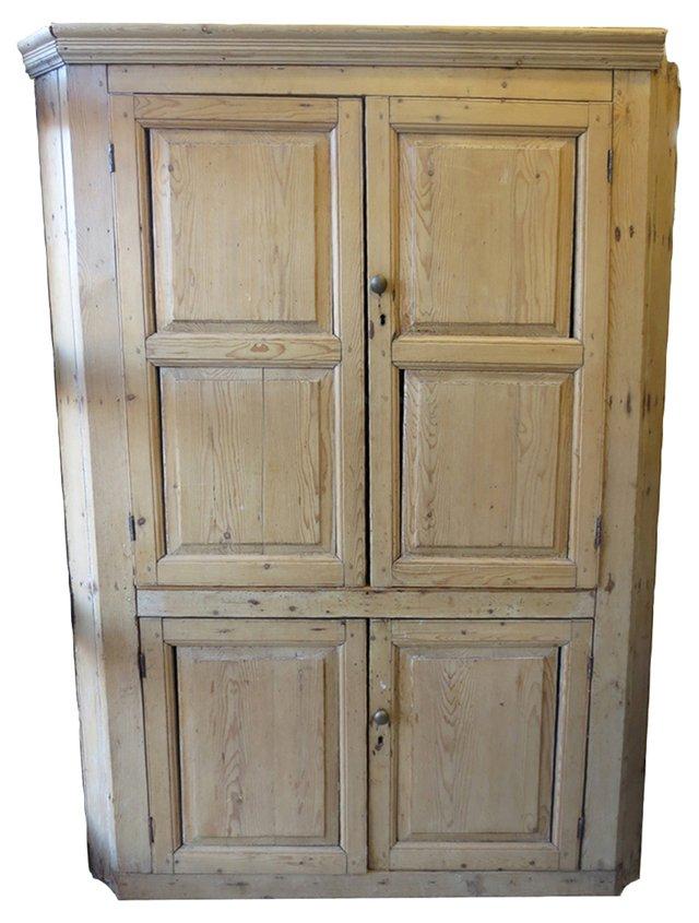 Antique English Pine Corner Cabinet
