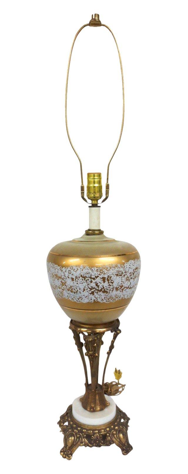 Gilt Decorated Ceramic Lamp