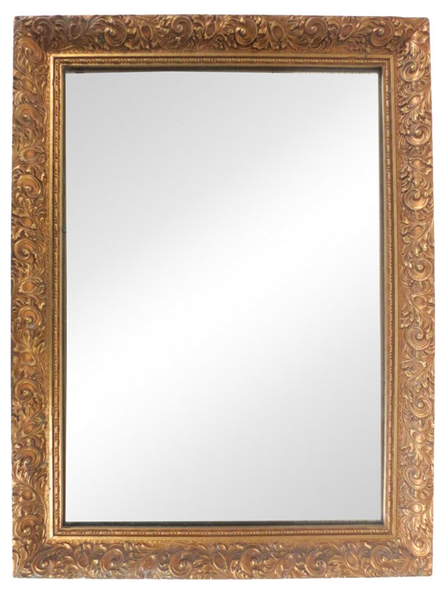 Hand-Painted Gilt Wood Mirror