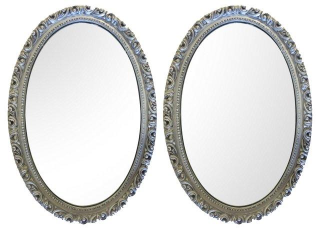 Oval Silver Gilt Mirrors, Pair