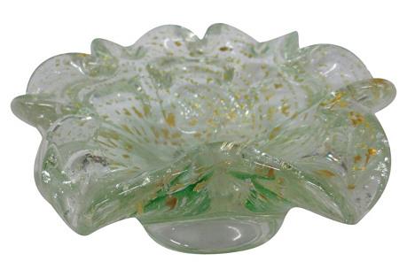 Ruffled-Edge Venetian Glass Bowl