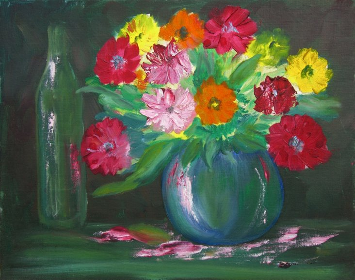 Still Life of Flowers & Bottle
