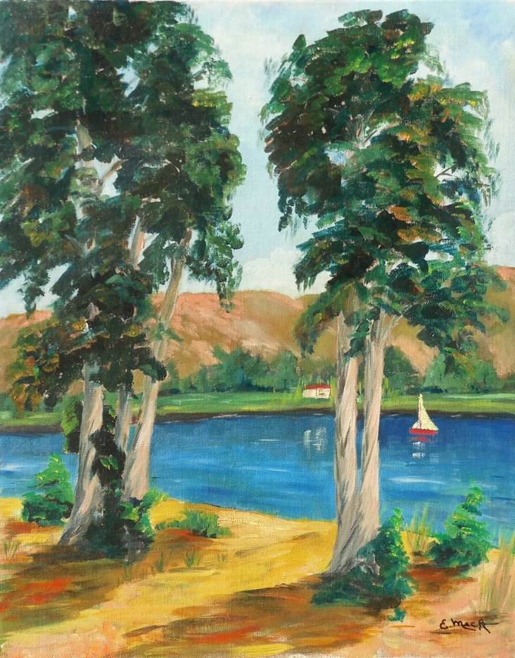 Lake Scene w/ Sailboat