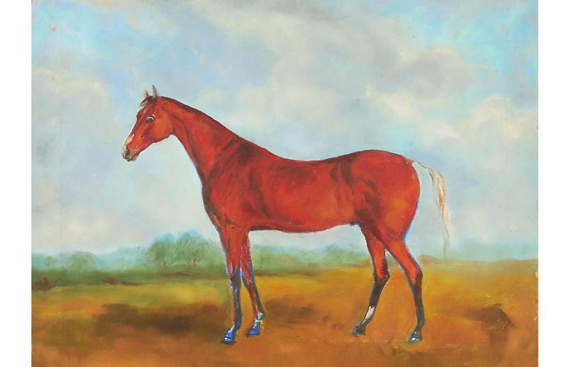 Chestnut Arabian in a Landscape, 1960s