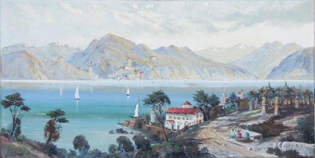 1970s Italian Lake Landscape