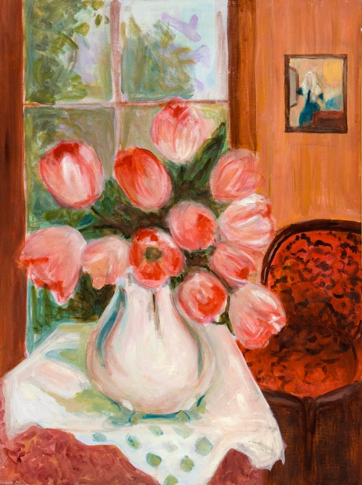 Still Life of Pink Tulips