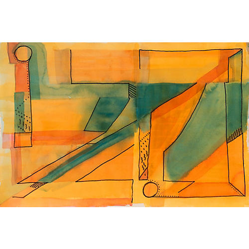 Abstract in Jade & Gold, 1980s