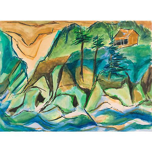 Expressionist River Landscape, 1960s