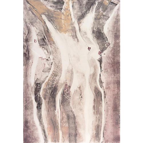 Abstract Figural in Ivory & Rose