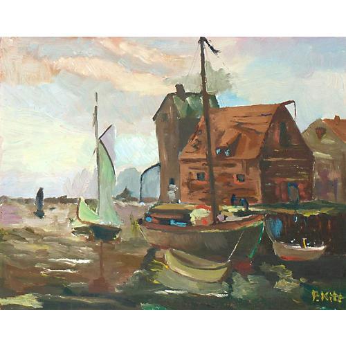 1970s Harbor at Dawn