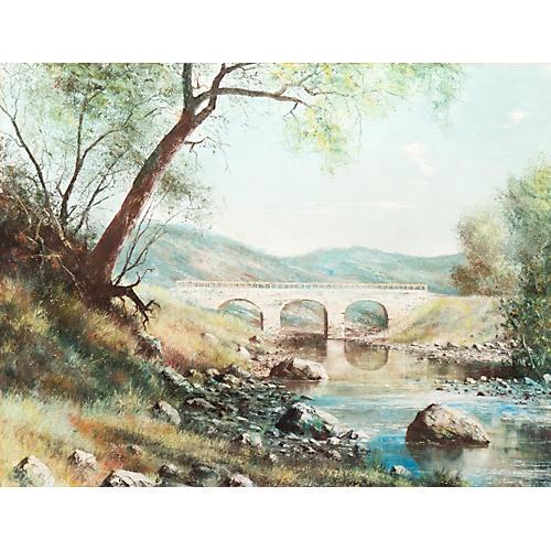 1970s River Landscape w/ Stone Bridge