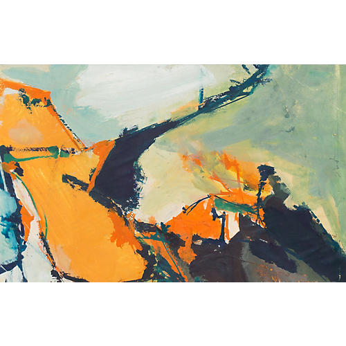 1970s Abstract in Orange & Teal