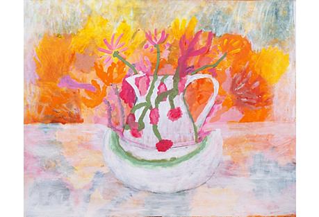 Floral Still Life in Coral & Gray