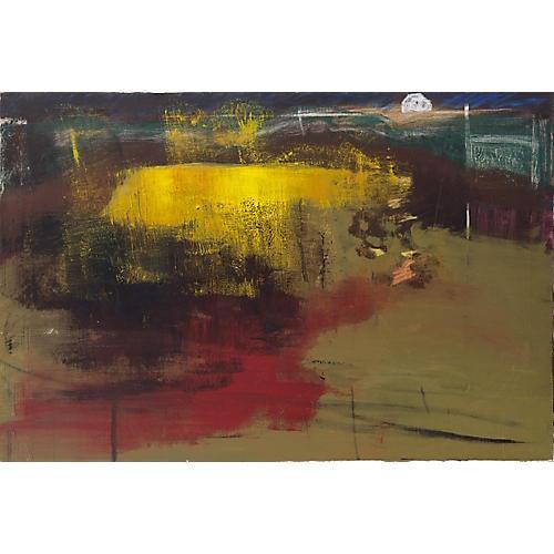 1980s Modernist Moonlit Landscape