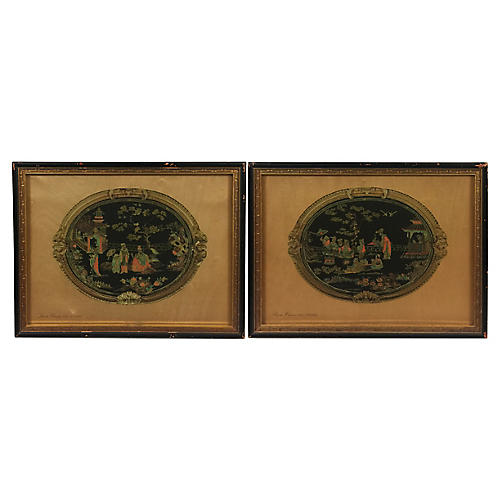 Chinese Lacquer Prints, Pair