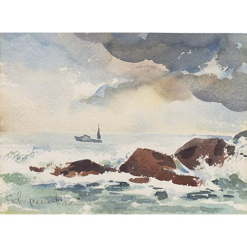 1950s Seascape by Helen Schepens-Kraus