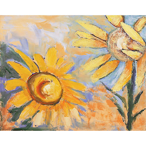 1970s Sunflowers & Blue Sky