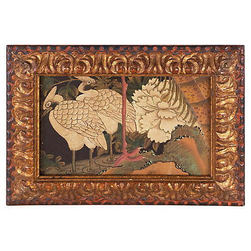 19th-C. White Cranes & Magnolia