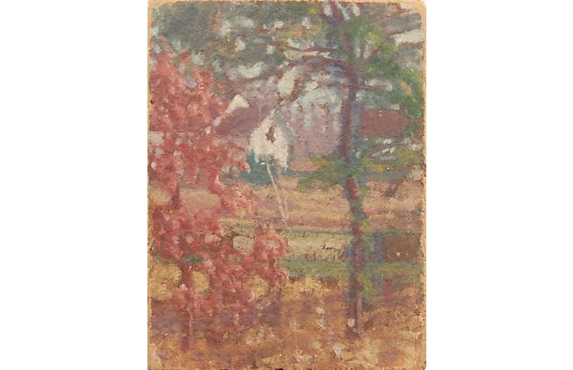 White Farmhouse Among Trees