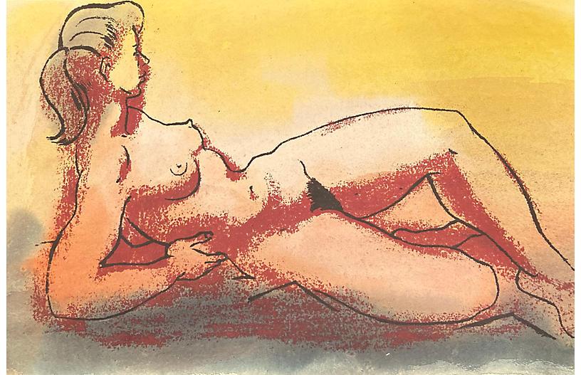 Reclining Nude by Wedo Georgetti, 1950s