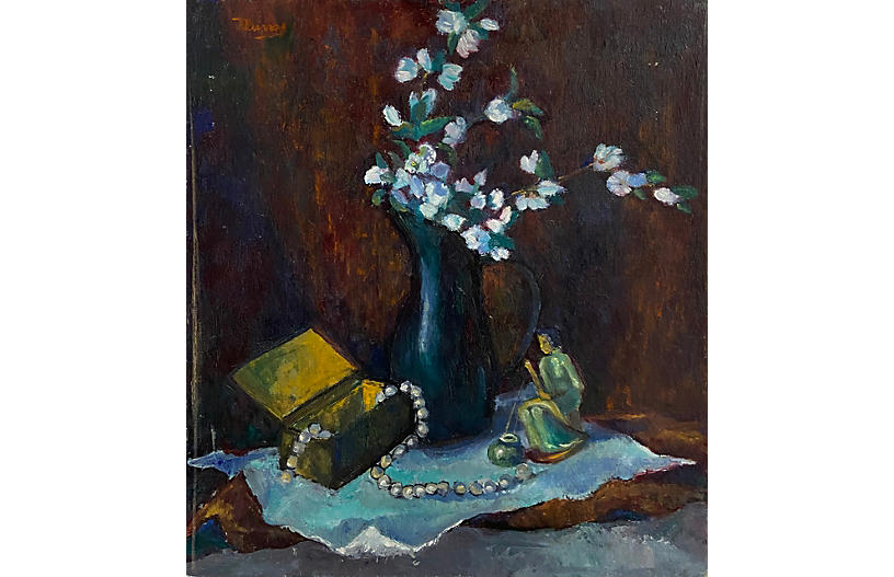 Still Life of Apple Blossoms and Pearls
