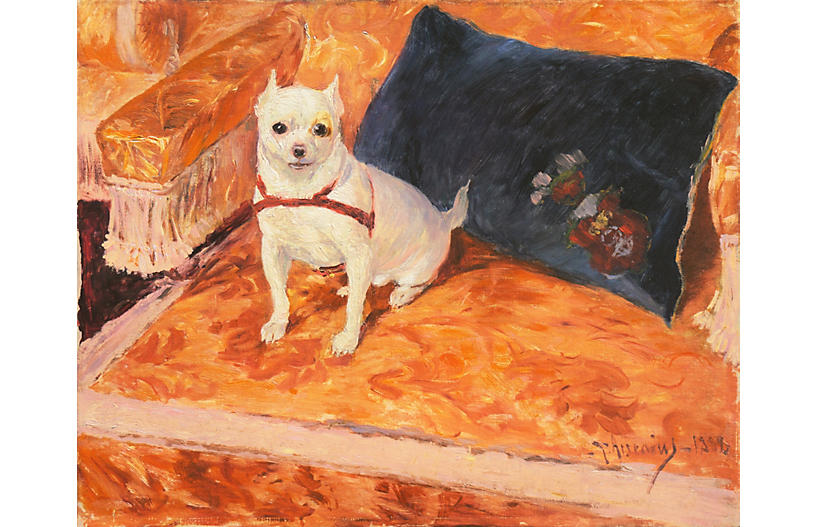 Chihuahua on a Sofa, Carl Arsenius, 1888