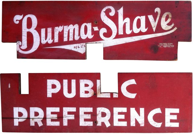 Burma-Shave Road Signs, Pair, 1939