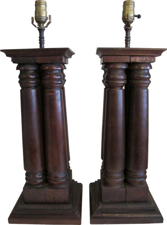 Antique Wood Column Lamps, Pair