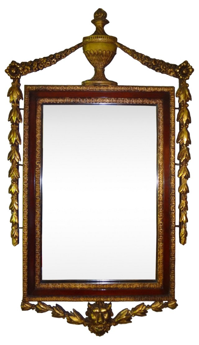 19th-C. Adams-Style Gilt Urn Mirror