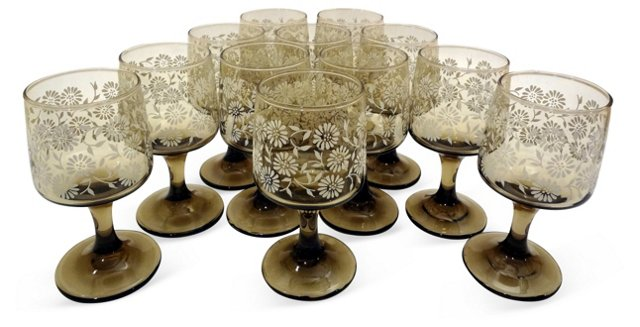 White Floral Wine Glasses, S/12