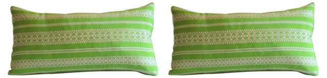 Acid Green Japanese Pillows, Pair