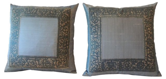 Blue Fortuny Frame Pillows, Pair