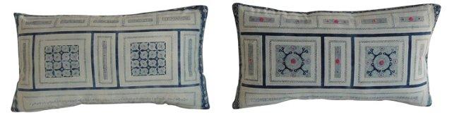 Blue Batik Lumbar Pillows, Pair