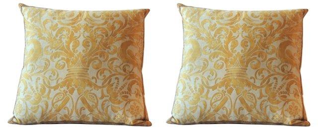 Fortuny Yellow Birds Pillows, Pair