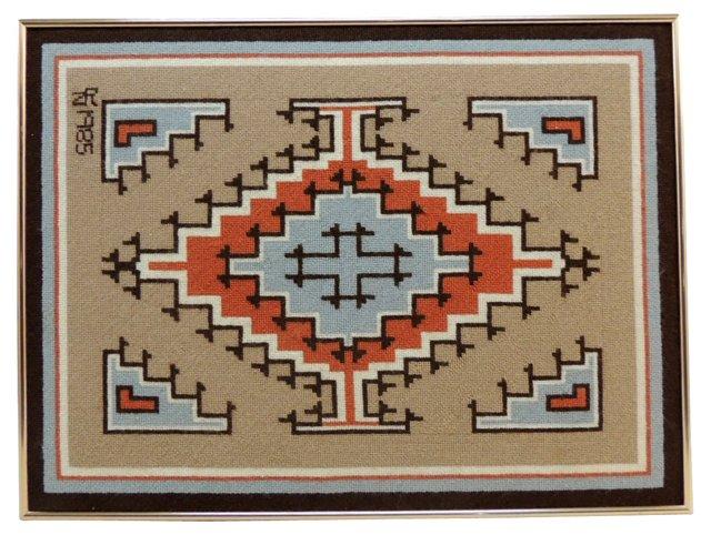 Vintage Mounted Navajo  Tapestry