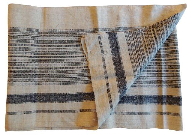 Blue & Natural Handspun Textile