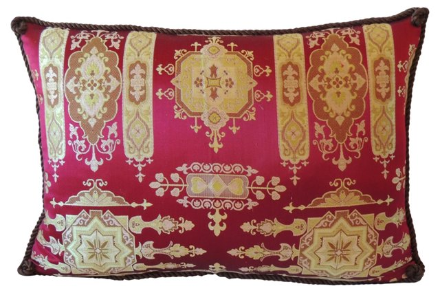 French Gold & Red Brocade Pillow