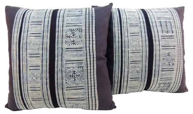 Batik Linen Pillows, Pair