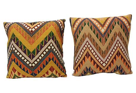 Graphic Tribal Decorative Pillows, Pair