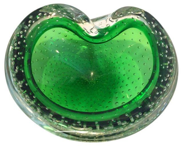 Green Murano  Glass Bowl
