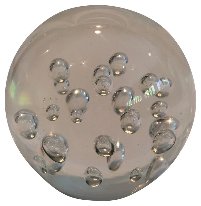 Glass Paperweight w/ Bubbles